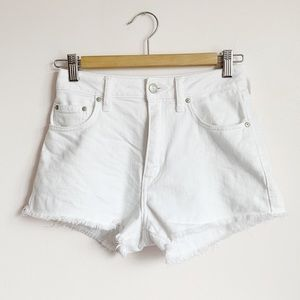 soft white stretch cotton denim sunday best shorts